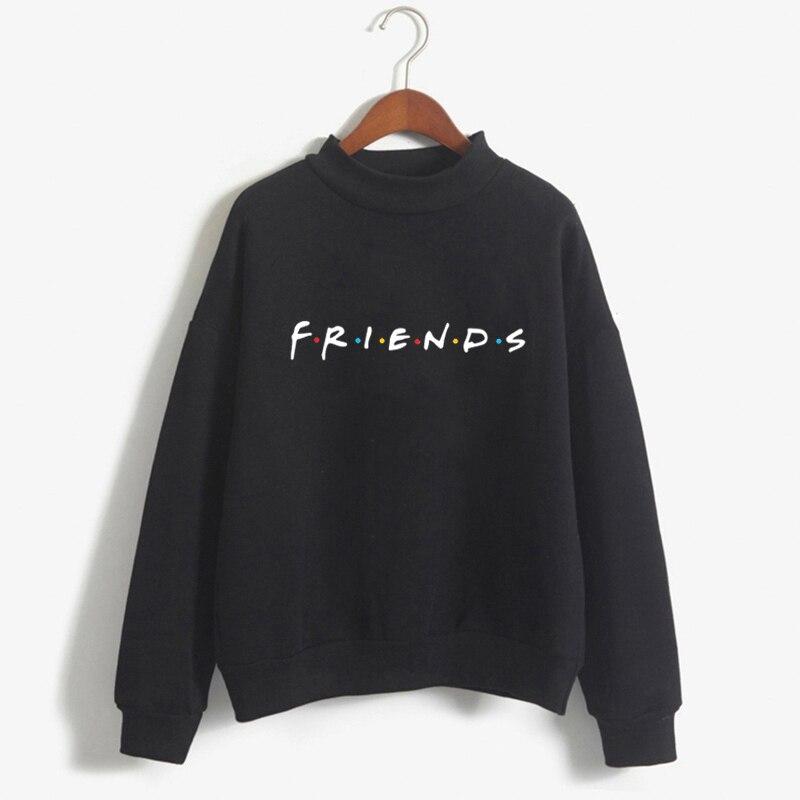 Friends TV Women Turtleneck Black Hoodies Winter Kawaii Clothes Print Harajuku Plus Size Femme Clothing Sweatshirt Fashion