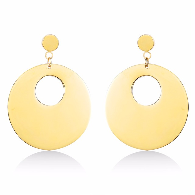 New Gold Color 316l Stainless Steel Circle Earring Anium Post Drop Disc Earrings For Woman