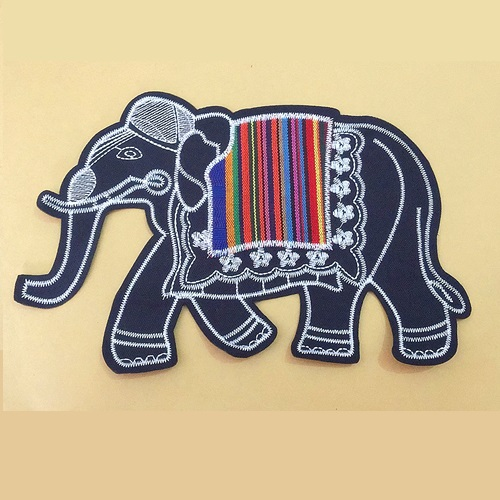 Minority nationality style elephant Embroidered Patch Applique Fabric Clothing Apparel Sewing Patches Women Dress Clothes Ethnic