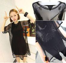 Sexy women Black See Through Mesh Nets t shirts Short Sleeve Oversize summer T-Shirt Cover Tops GL