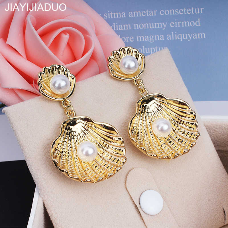 jiayijiaudo Imitation Pearl Earrings Women's Jewelry Silver/Gold Color Shell Earrings Fashion Party Accessories newdropshipping
