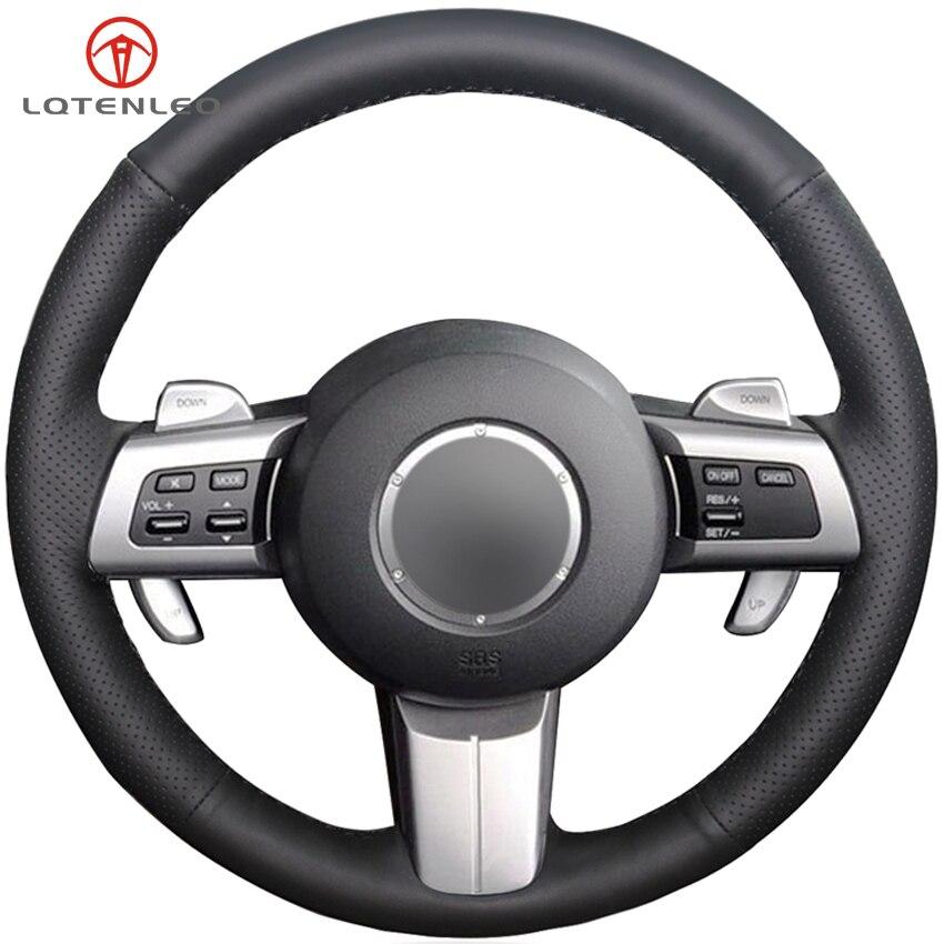 LQTENLEO Black Artificial Leather Car Steering Wheel Cover For Mazda MX-5 2009-2014 RX-8 2008-2013 CX-7 CX7 2007-2009