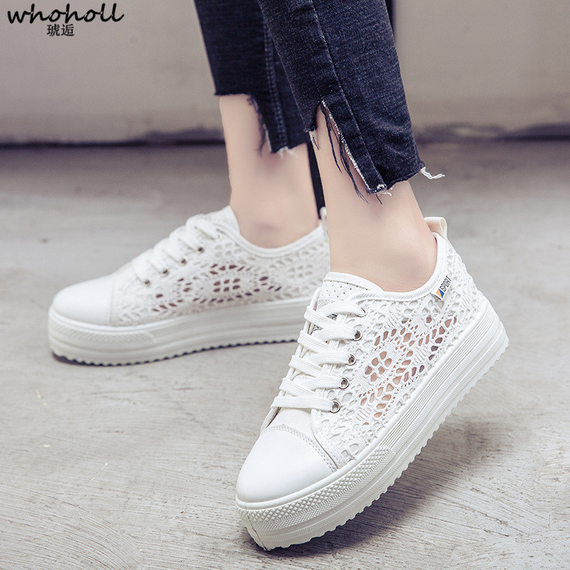 WHOHOLL Women Flat Shoes Fashion Summer Casual White Shoes for Female Hollow Out Breathable Platform Flat Shoes Woman Sneakers