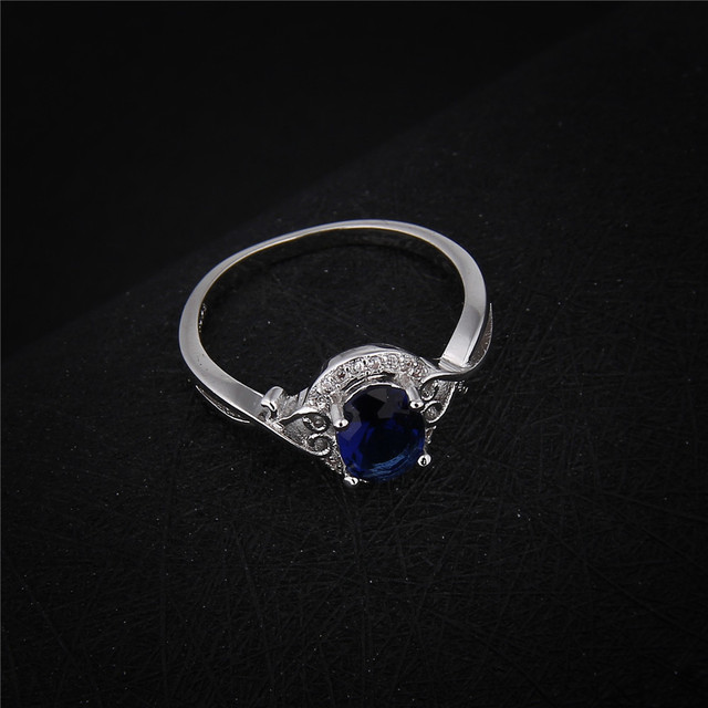 DODO Elegant Deep Blue Austrian Crystal Jewelry White Gold Color Rings For Women Charm Engagement Bijoux Femme Wholesale DD156