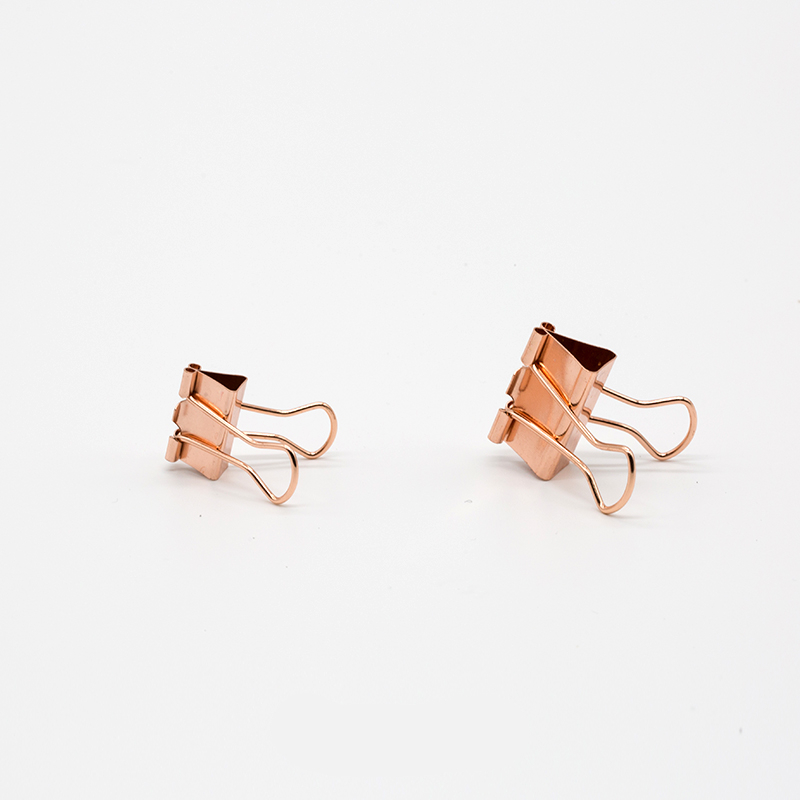 TUTU 10pcs/lot Solid Color Rose Gold Metal Binder Clips Notes Letter Paper Clip Office Supplies H0059 3
