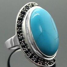 17X30 мм Голубой Бирюзовый Овальный драгоценные камни 925 пробы Серебряный марказит кольцо