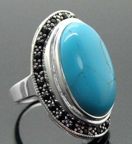 17X30mm Blu Turchesi Gemme Ovali 925 Sterling Silver Marcasite Anello17X30mm Blu Turchesi Gemme Ovali 925 Sterling Silver Marcasite Anello