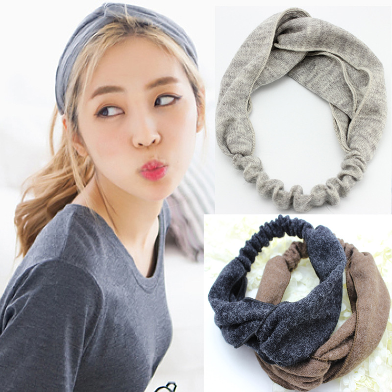 South Korea's head with new winter Shag line pure color Knit fabric cross hair band Han edition tire south korea han edition tire hair accessories fashion version of wrong layer tassel wide set auger flannelette hair band