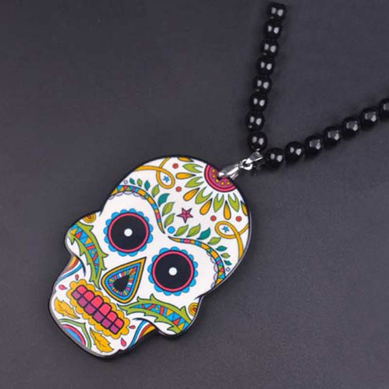 Hip Hop Skull Pendant Necklace For Men Long Bead Chain Skull Necklaces Male Costume Jewelry Bijoux Gift Collares Bijouterie