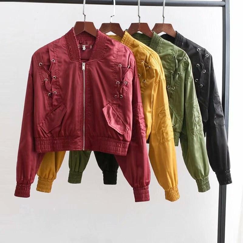 Basic Army Green Bomber Jacket Coat Women Satin Lace Up Pocket Biker Jacket Outerwear 2018 Autumn Winter Casual Streetwear Coat