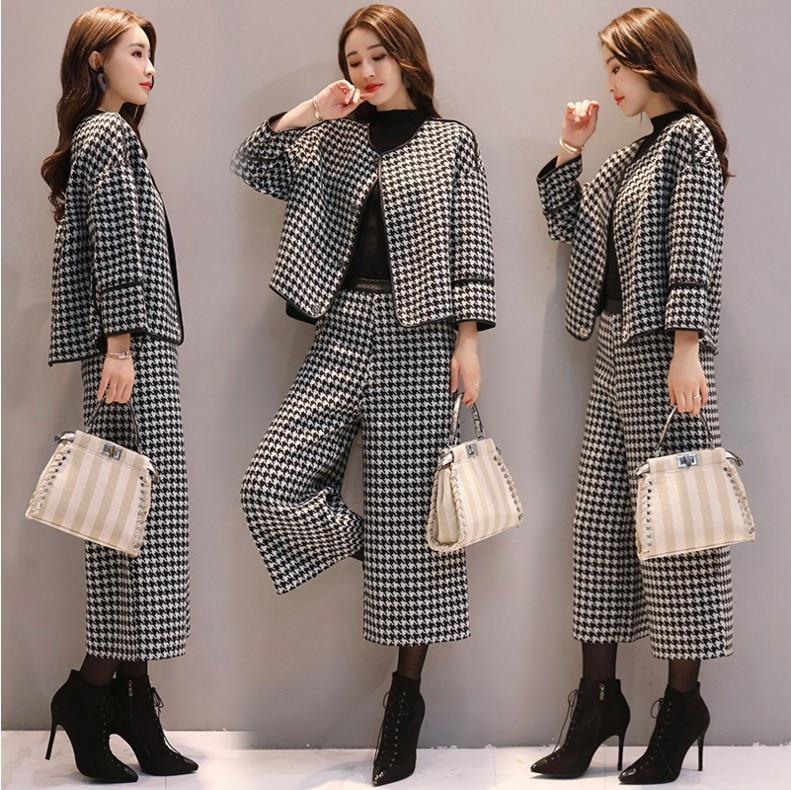 stylish two piece set women sets clothes plaid ensemble