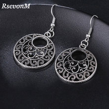 RscvonM New Boho Vintage Tibetan Silver Round Ear Hook Tribal Earrings Retro Big Flower Long Hanging Earrings Statement Jewelry(China)