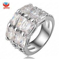 YHAMNI New Fashion Real 24K White Gold Filled Wedding Rings For Women Crystal Rhinestone Engagement Ring Fashion Jewelry YH402