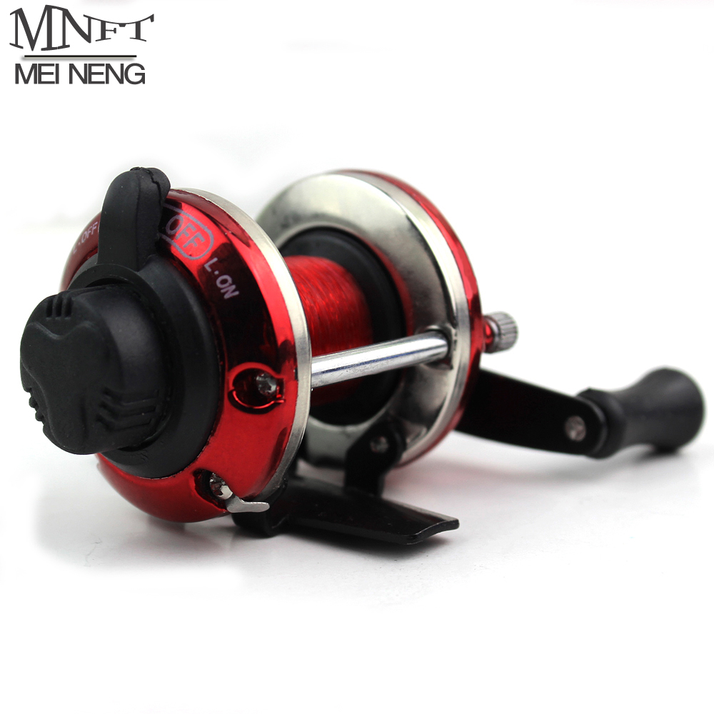 MNFT Bait Casting Mini Ice Fishing Reel Metal Round Water Wheel Rotation Winter Fishing Baitcast Coil Roller 3.6:1 With Line 50M
