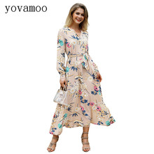 Yovamoo 2018 Autumn Boho New Vintage Elegant Holiday European Floral Print V-neck Long Sleeve Women Flower Dress