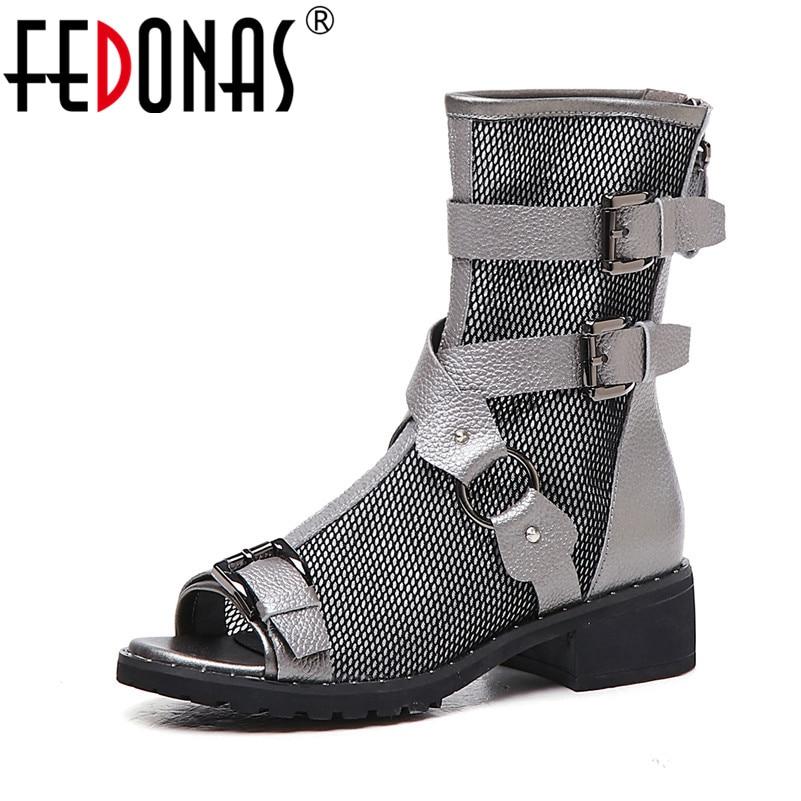 FEDONAS Fashion Punk Genuine Leather Mesh Women Mid Calf Boots 2019 New Peep Toe Buckle High