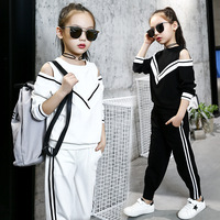 girls tracksuits sets 2018 kids sports suits off shoulder long sleeve t shirts & pants sets for girl black white clothing 10 12Y