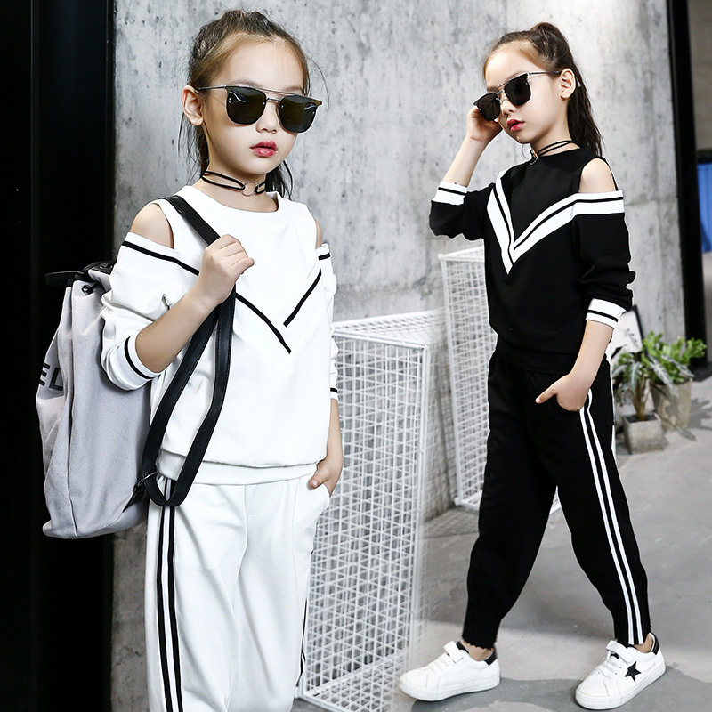 girls tracksuits sets 2018 kids sports suits off shoulder long sleeve t shirts & pants sets for girl black white clothing 10 12Y 2018 girl summer sets new children s skirt 2pcs college chiffon clothing set white half sleeve blouse black long skirts suits