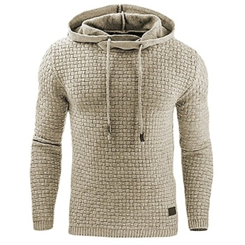 Casual Hoodie Men's Plaid Jacquard Sweatshirt