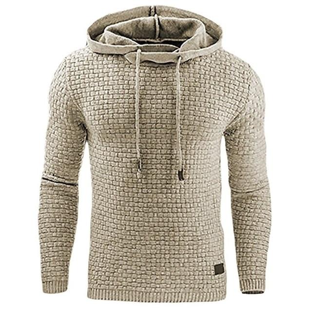 Casual Hoodie Men's Plaid Jacquard Sweatshirt