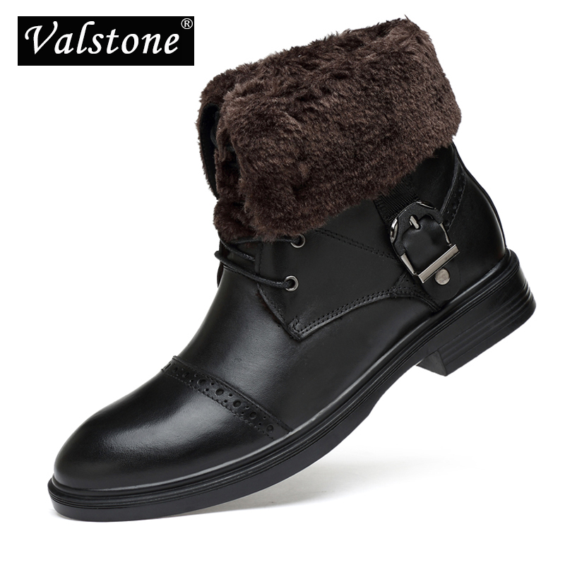 Valstone Men s Waterproof Genuine Leather boots Winter Classic retro boots high warm Snow boot Original