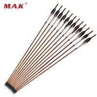 6 12 24 Pcs Bamboo Arrow Length 31 Inches Diameter 8 5 Mm Spine 500 Black