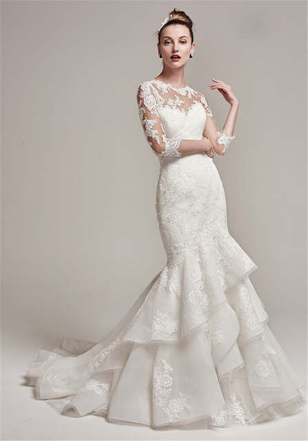 Illusion Lace Bodysuit With Three Quarter Length Sleeves Mermaid Wedding Dress Jacket Lique