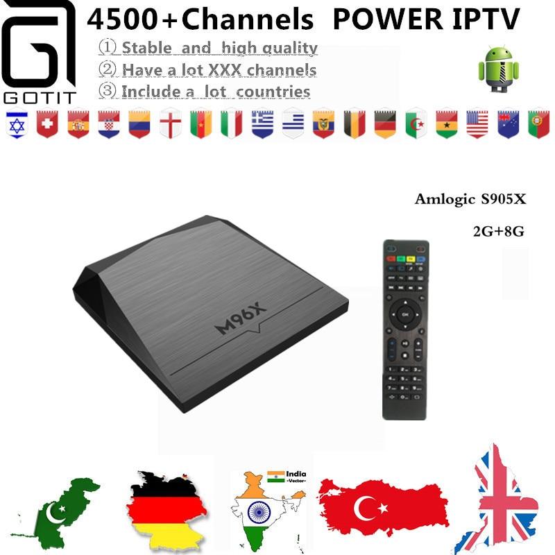 Europe IPTV GOTiT M96X+Power IPTV Android 6.0 4K Ultra HD 4500+UK Germany Netherlands Portugal Italy Adult EX-YU Danmark TV Box тв модуль ci триколор k m evr единый ultra hd европа