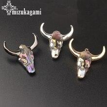 White Glass Pendant 3D Cow Bull Ox Head Skull Charm Pendant