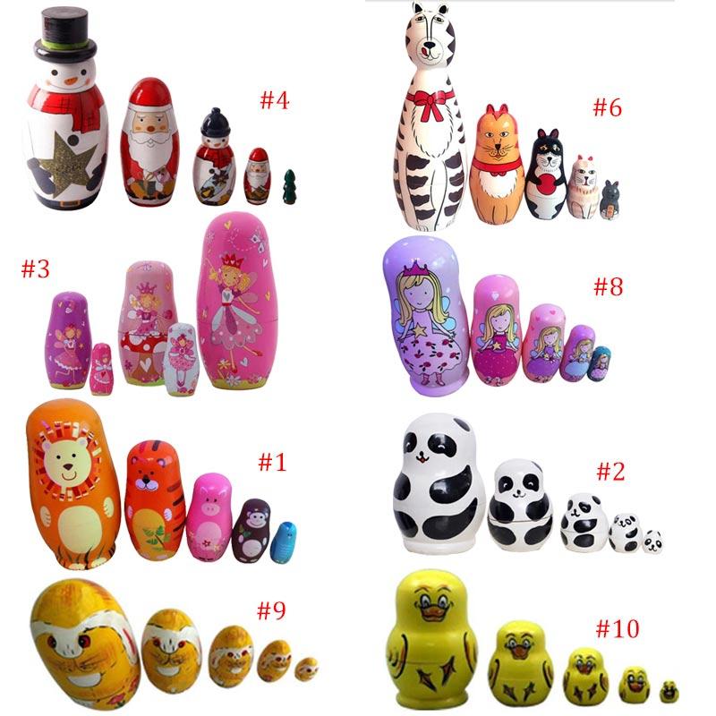 Dolls & Stuffed Toys 5-nesting Cute Wooden Nesting Dolls Matryoshka Russian Doll Christmas Gift