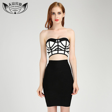 2017 Summer Women Strapless Bandage Dress Set Stripes Zipper Design Black Color Sexy Ladies Above Knee Mini Bandage Dresses