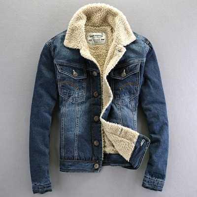 New 2017 Spring Winter Coat For Men Turndown Collar Mens Denim Jackets And Coats Single Breasted Fleece Plus Coat A4591