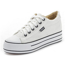 Shoes Women High Platform Canvas Shoes lace up Casual Flats white Shoes Women 1c89