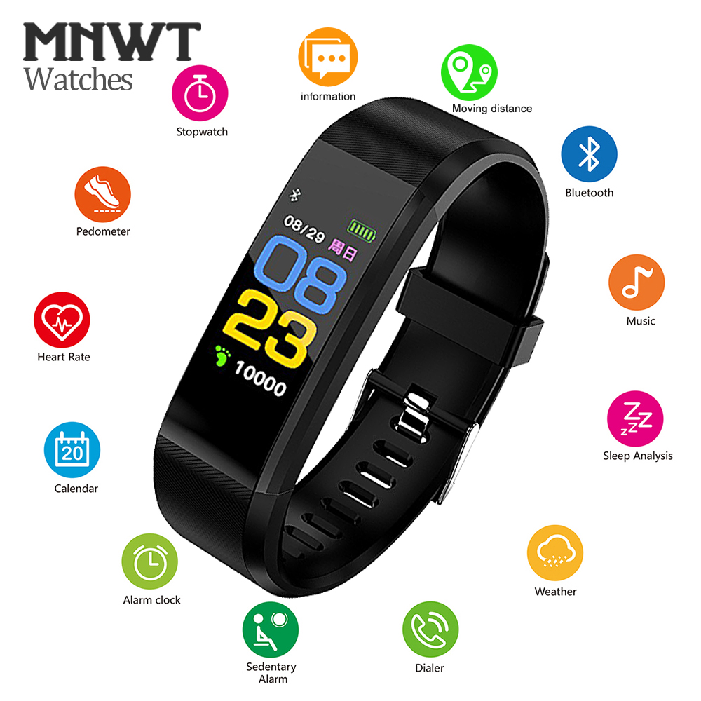 MNWT 5 Colour Wristband Smart Watch Men Women Heart Rate Monitor Blood Pressure Fitness Sports Smart Bracelet For IOS Android