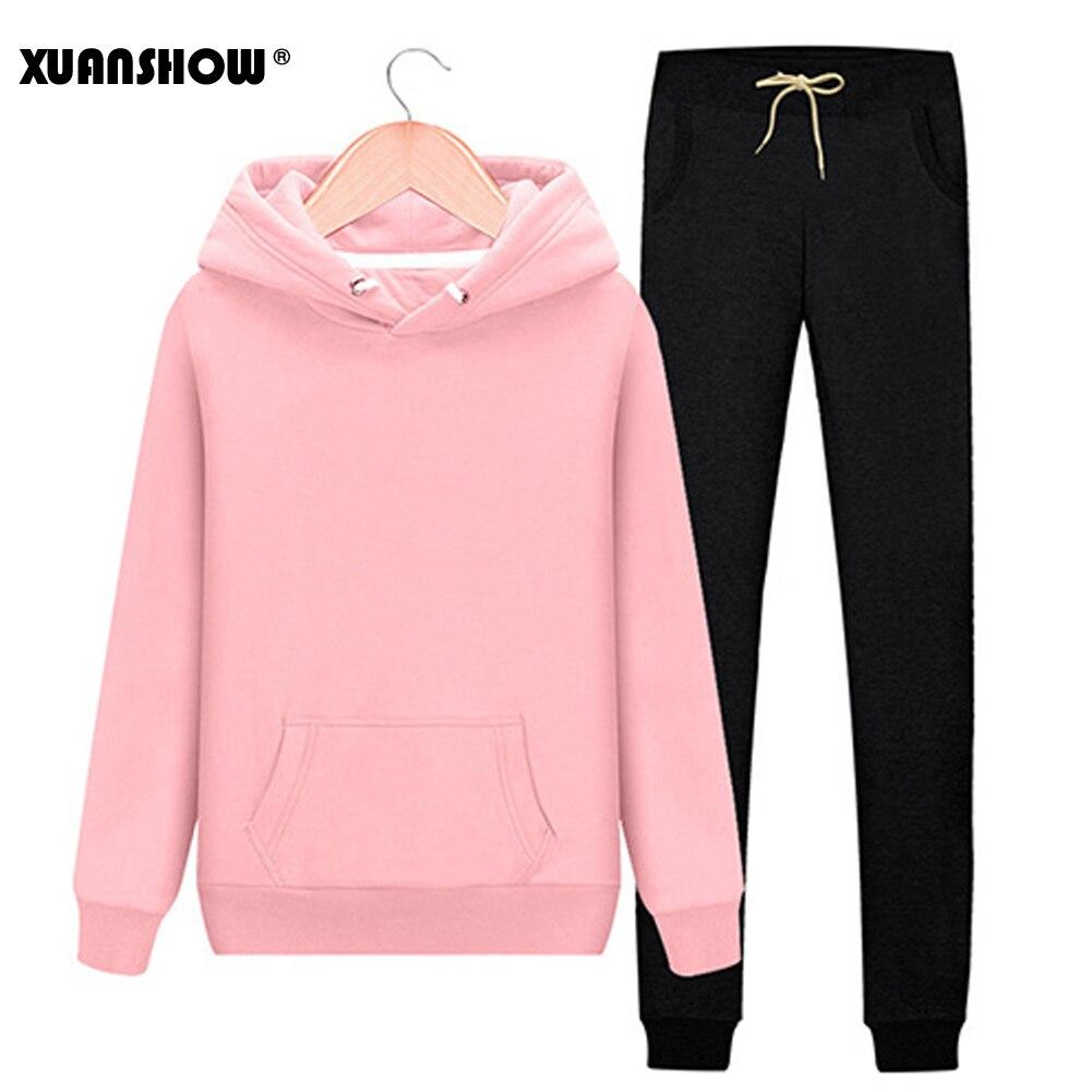 XUANSHOW 2019 Fashion Tracksuit Women Autumn Winter Clothes Cotton Long Sleeve Hoodies+Splice Long Pant Two Piece Set S-XXL