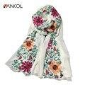 Colorido Mori Chica de Gran Tamaño Bufandas Otoño Pashmina Del Abrigo de la Mujer 180*90 Flowerl Bordado Bufanda de Lino de Algodón de Las Mujeres chales