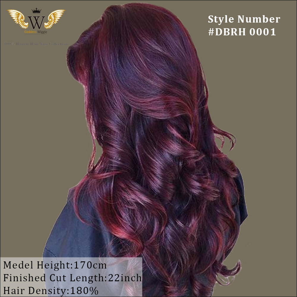 180 Density Glueless Lace Front Human Hair Wigs Ombre Red