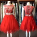 Red Sexy Two Pieces Short Cocktail Party Dresses 2017  Knee Length Beaded Crystals Tulle Sparkly Prom Cocktail Dresses