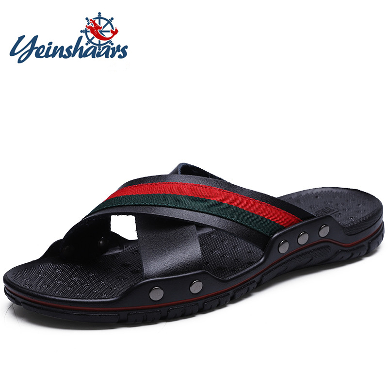 YEINSHAARS Brand 2019 Summer Men Slippers Genuine Leather Cross Strap Beach Water Shoes Men High Quality Slippers Big Size:38-47