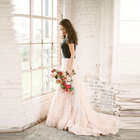 Luxury Gorgeous Bridal Wedding Skirt Custom Made A Line Long Train Tiered Layered Ruffles Tulle Skirt