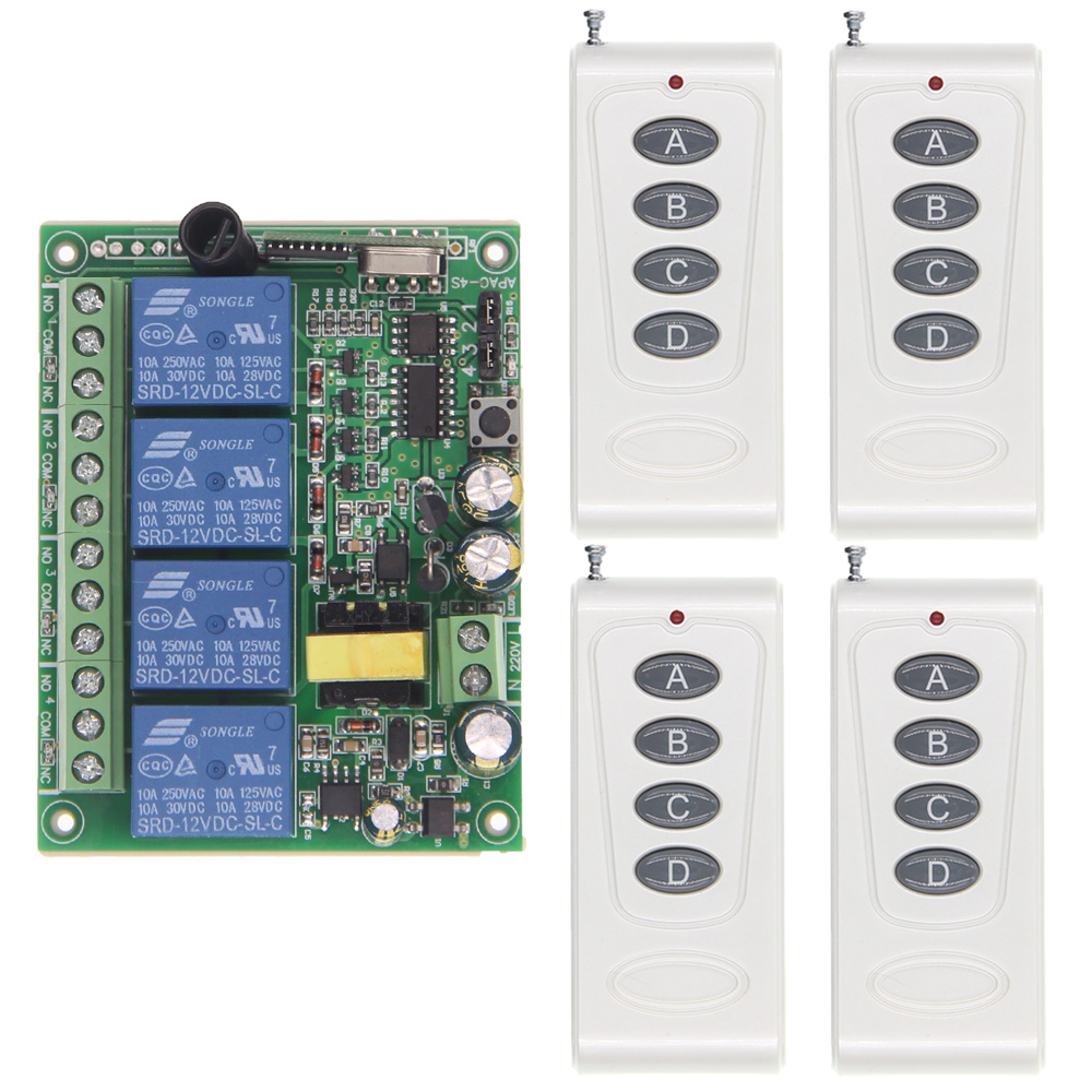 1000m High Power 10A Relay AC 220V 4 CH 4CH Wireless RF Remote Control Switch Transmitter & Receiver,315 / 433.92 MHz high quality dc24v rf wireless remote control switch 4ch 10a 1pcs receiver