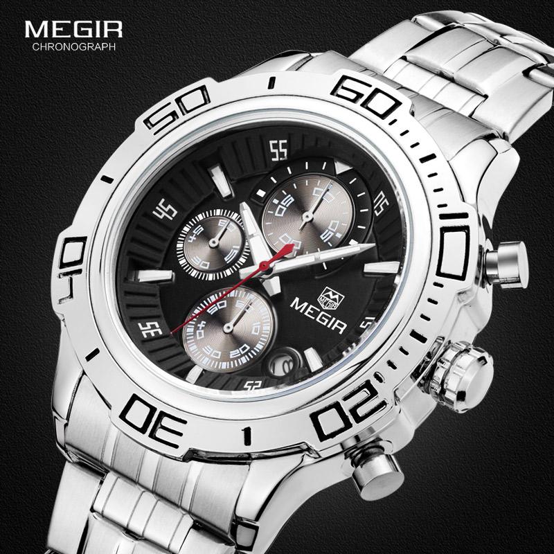 Prix pour Megir Hommes Chronographe Bracelet En Acier Inoxydable Bracelet À Quartz Montres De Mode De Luxe Lumineux Étanche Montre-Bracelet pour Homme 2019