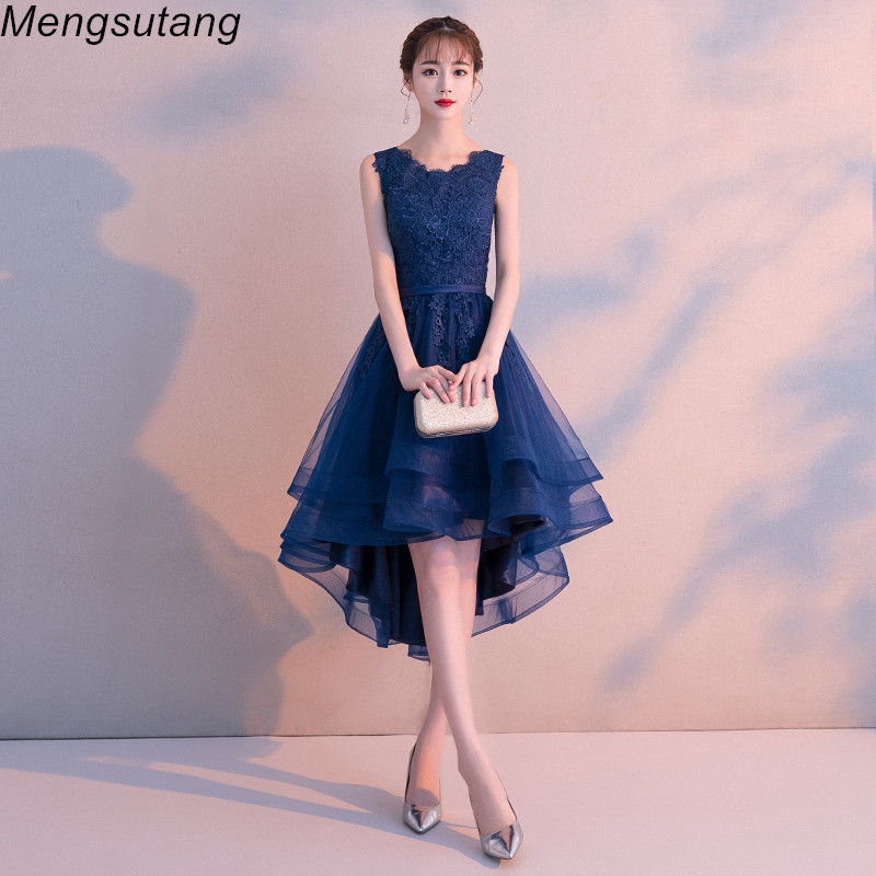 Robe de soiree Navy Blue O-Neck Sleeveless lace vestido de festa   evening     dress   Short Front Long Back Party   Dresses   prom   dresses
