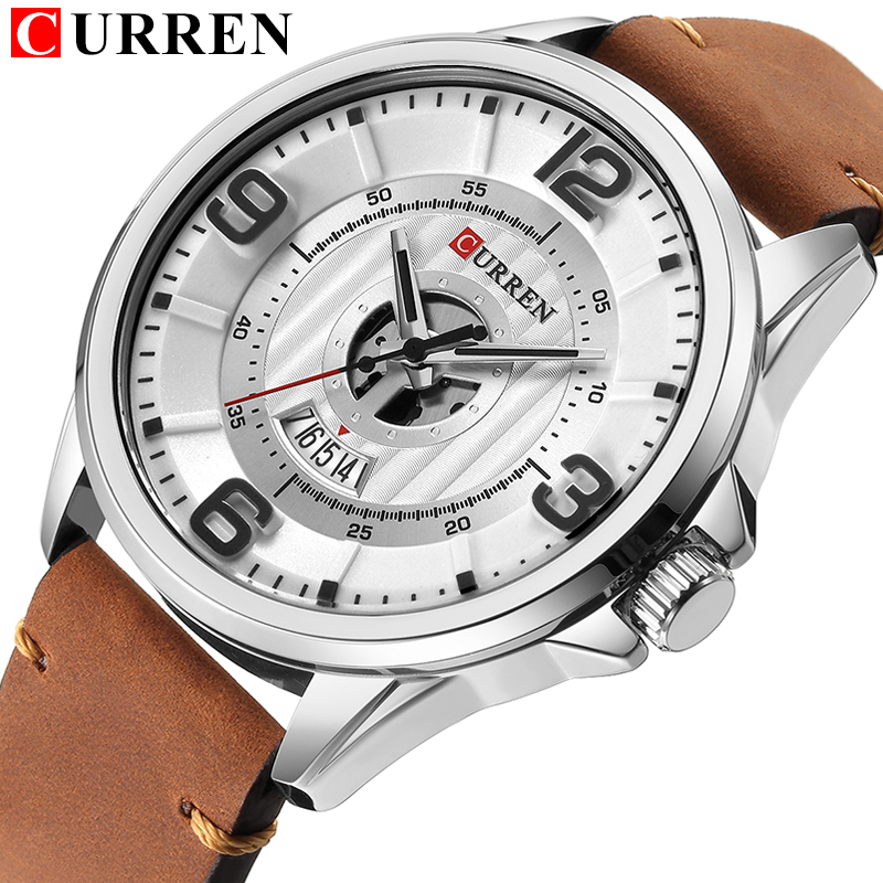цена на NEW CURREN Luxury Brand Men's Quartz Watches Men Fashion Casual Leather Sports Watch Man Date Clock Relogio Masculino