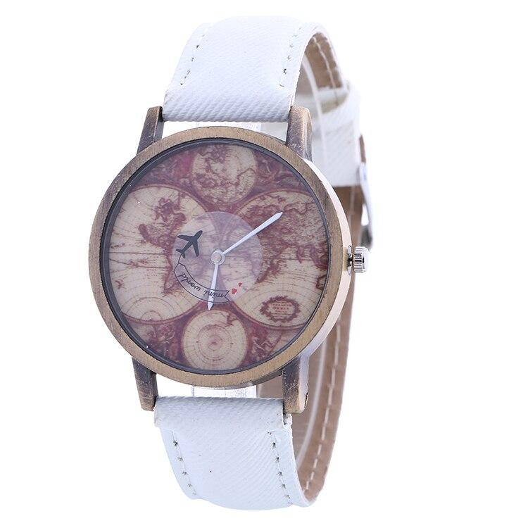 100pcs/lot 918084 retro style map leather watch wrap quartz jean ...
