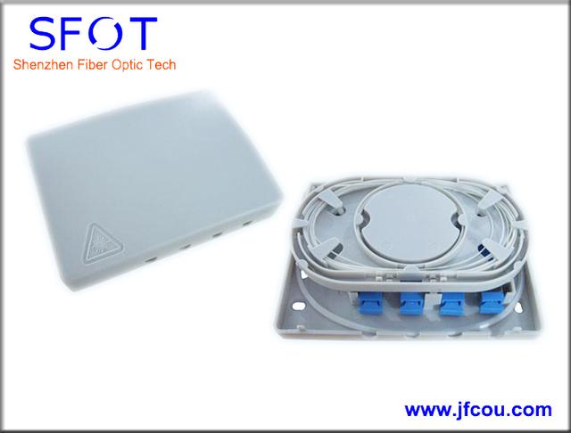 Frete grátis, 3 pçs/lote, 4 portos caixa de terminação FTTH fibra óptica, Com SC / UPC cachos e SC / UPC adaptadores