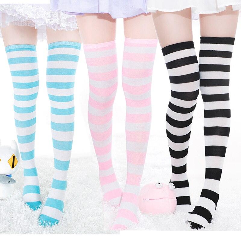 Japanese Harajuku Blue & White Striped Stocking Kawaii Anime Girl Miku Lolita Tights Thigh High Stockings