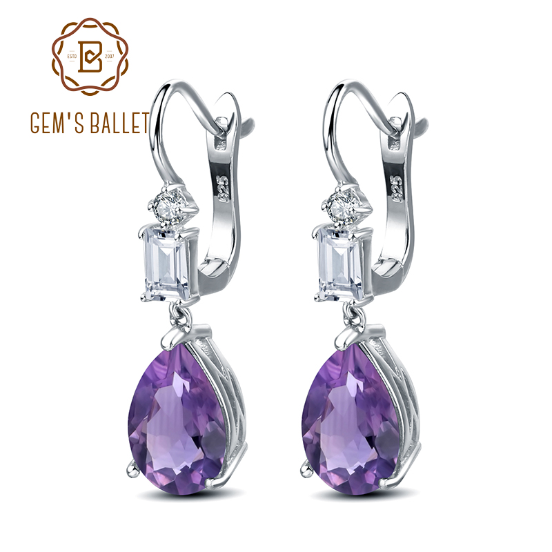 GEM S BALLET 8 14Ct Natural Amethyst Gemstone Earrings 925 Sterling Silver Drop Earrings for Women