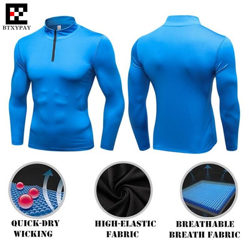 120pcs Men Shapers Turtleneck Sweatshirts 3D Tight High Elastic Quick-dry Wicking Fitness Long Sleeves O-Collar Zipper Slim Tops