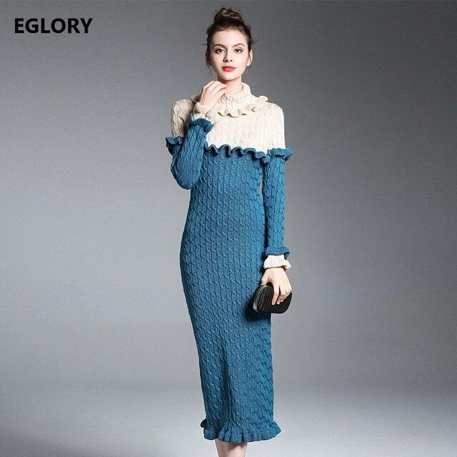 2017 herbst Winter Pullover Pullover Frauen Rollkragen Rüschen Floral  Langarm Tweed Strick mittel-lange Pull f74b38ad56